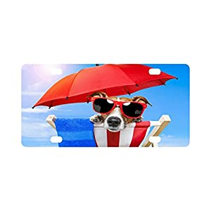 12 X 6 inches Durable License Plate Frame Metal Personalized Car Tag, Summer Puppy Dogs Beach with Sunglasses (4 Holes)