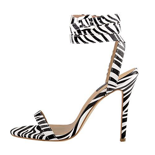 Onlymaker Women's Open Toe Ankle Strap Leopard Sandals Single Band Stilettos Fashion Shoes Size US 7 - Zebra Shoes High Heel