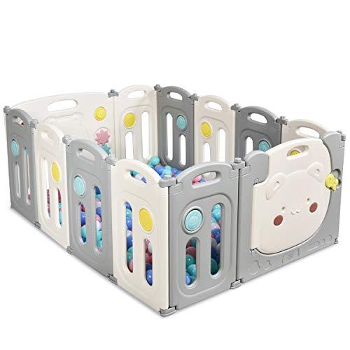 COSTWAY opvouwbare baby grondbox 12 panelen, activiteitencentrum voor kinder veiligheid werf met opbergtas, deur met…