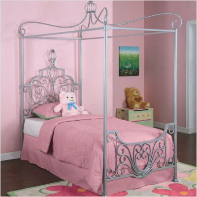 Bundle-55 Princess Rebecca Twin Size Canopy Bed in Sparkle Silver (4 Pieces) - Rebecca Canopy Bed