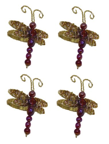 Cotton Craft - Dragon Fly Napkin Ring Multi - Set of 4 (Beaded Dragonfly)