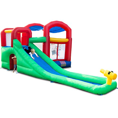 Costzon Inflatable Bounce House, Jump and Slide Bouncer w/Large Jumping Area, Long Slide, Including Carry Bag, Repairing Kit, Stakes (Without Blower)