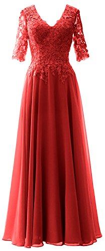 MACloth Elegant Half Sleeves Mother of Bride Dress V Neck Evening Formal Gown Rojo