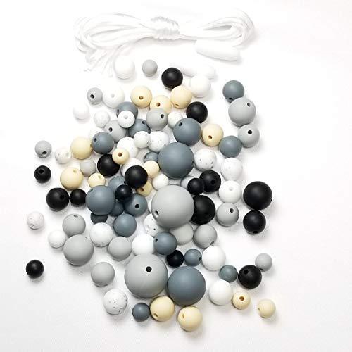 (Silicone Beads 100PC Various Round Sizes & Color for Necklace, Bracelets & Other DIY Jewelry Projects BPA Free (100 Pieces, Charcoal Grey Mix))