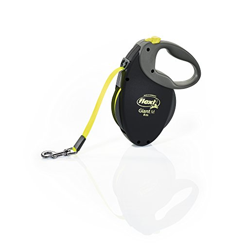 Flexi Comfort Grip - Flexi Giant Medium Retractable Dog Leash (Tape) , 26 ft, Medium, Black/Neon