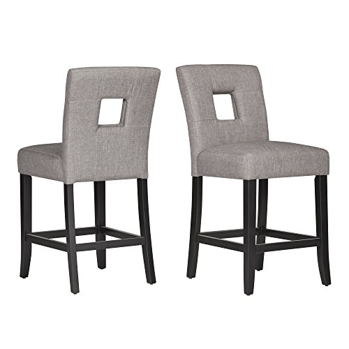 ModHaus Gray Linen Modern Square Keyhole Counter Height Stools | Black Finish Wooden Legs - Set of 2 Includes ModHaus Living (TM) Pen - Chair Keyhole Side