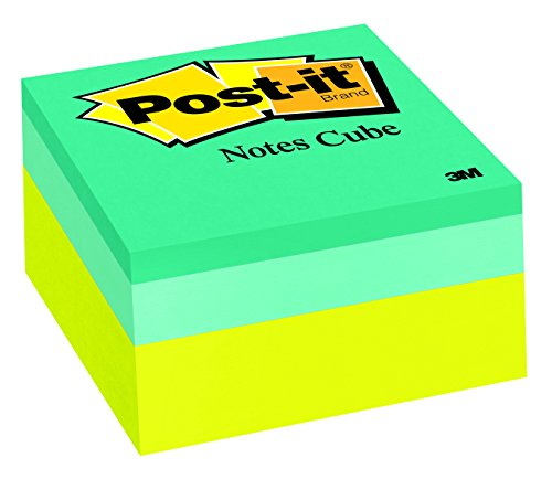 Post-it Notes Cube, 3 in x 3 in, Green Wave, 400 Sheets/Cube (2054-PP)