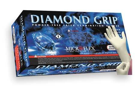 Microflex Medical MF-300-L Large Natural 9.645'' Diamond Grip 6.3 mil Latex Ambidextrous Non-Sterile Medical Grade Powder-Free Disposable Gloves, English, 15.34 fl. oz., Plastic, 1