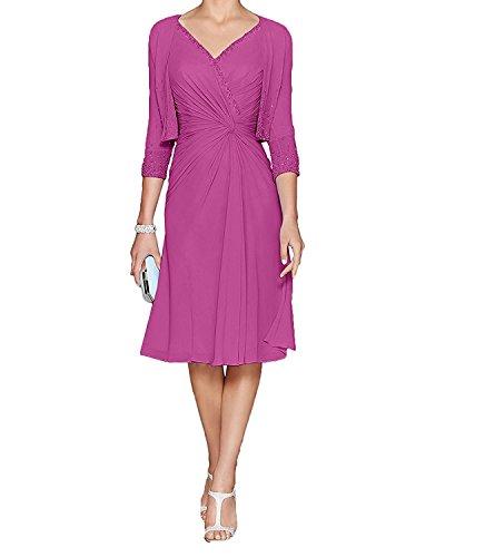 mia Knielang Hell Abendkleider Brautmutterkleider mit Pink Chiffon Bolero Damen La Blau Braut Festlichkleider qHdf16wqT