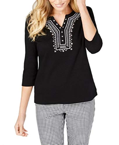 Karen Scott Petite Embroidered Henley Top (Deep Black, PL)