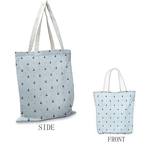 - Anchor Shopping bag is easy to carry Romantic Nautical Composition with Blue Anchors and Little Red Hearts Full color shopping bag W15.75 x L13.78 Inch Baby Blue Dark Blue Red
