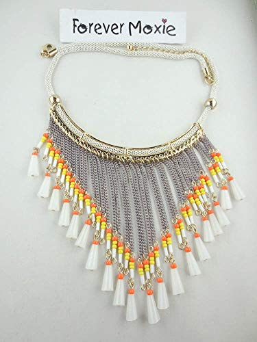 Dangling Goldtone Glass Bead Candy Corn Chain Fringe Bib Necklace