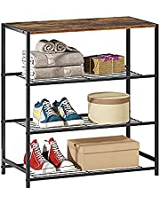 HOME BI 4-Tier Shoe Rack with Top Wooden Décor Storage Shelf Unit, Calcination Finish Wooden Top and Metal Frame, 4-Tier