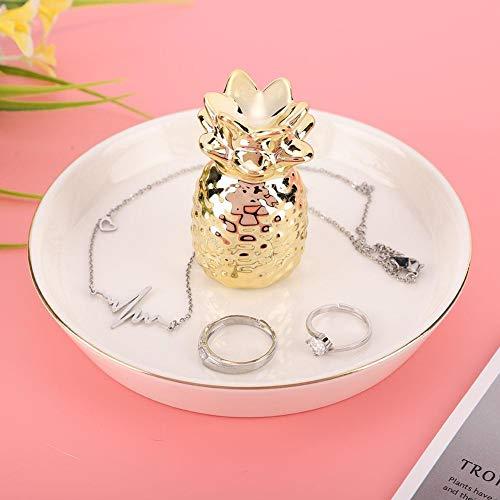 Mumusuki Ring Holder Dish for Jewelry Necklace Bracelet Holder Organizer Display Tray Golden Glazed Ceramic Home Decor