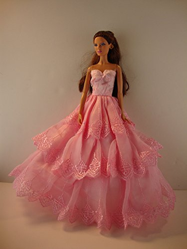 Sweet Pink Ball Gown with 3 layers of Lace made to Fit Barbie Doll not included