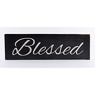 Blessed Wood Sign - Black