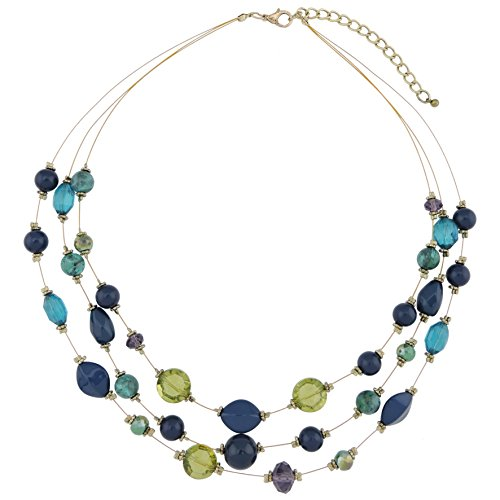 COIRIS 3 Layer Illusion Wire Statement Necklace for Women Blue Green Beaded (N0005)