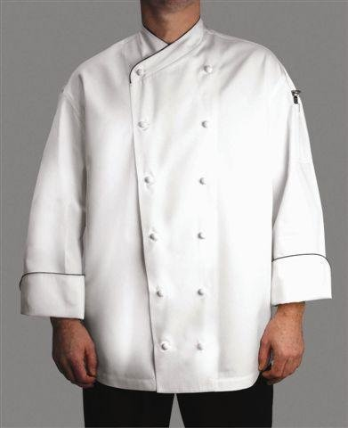 Chef Revival J008 Chef-Tex Poly Cotton Corporate Chef Jacket with Black Piping and Cloth Covered Button Style, X-Large, White