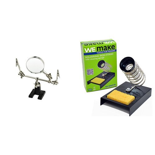SE MZ101B Helping Hand with Magnifying Glass with Elenco Soldering Iron Holder