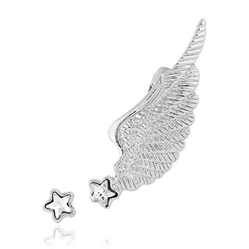 rystal Star Studs Angel Wing Ear Cuff Romantic Zircon Feather Clip Earrings Jewelry Gifts (Silver) ()