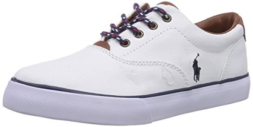 Polo Ralph Lauren Kids Vaughn II Fashion Sneaker (Little Kid/Big Kid), White - Weiß (White Canvas w Tan leather), 1.5 M UK - Polo Ralph Uk Lauren
