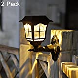 Maggift 12 Lumens Solar Wall Lantern Outdoor Christmas Solar Lights Wall Sconce Solar Outdoor Led Light Fixture with Wall Mount Kit (2 Pack)