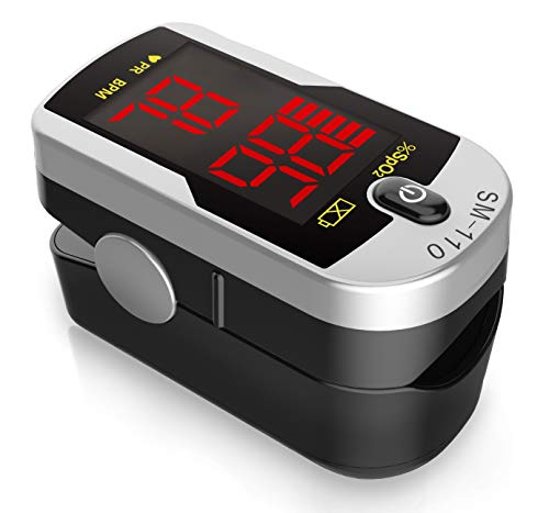 Deluxe SM-110 Two Way Display Finger Pulse Oximeter with Carry Case Neck Wrist Cord