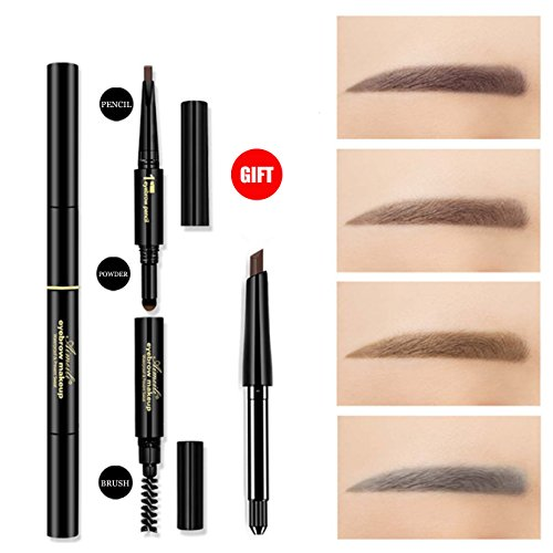 3 in 1 Automatic Eyebrow powder & Eyebrow brush & Automatic Eyebrow pencil with a refill pencil Professional 3D Eyebrow Cosmetic Makeup Tool Waterproof &Long-lasting dark brown#1