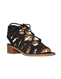 Soda Girls Cut Out Caged Open Toe Chunky Stacked Heel Bootie Mve Shoes