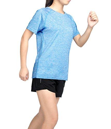 Thabit Women's Workout Shirts, Moisture Wicking Short Sleeve Tops