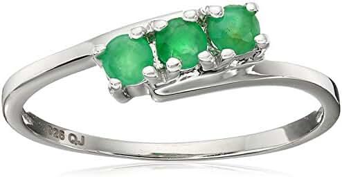 0.27 Carat Genuine Emerald .925 Sterling Silver Ring