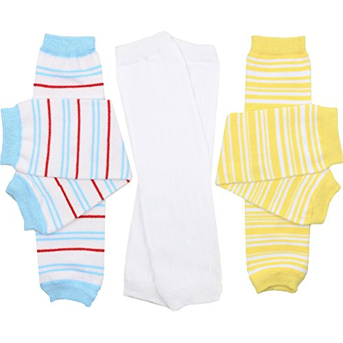 hot sell juDanzy 3 Pair Baby Boy And Girl Leg Warmers Sunshine Stripe, White Ribbed, Ocean Stripe big discount