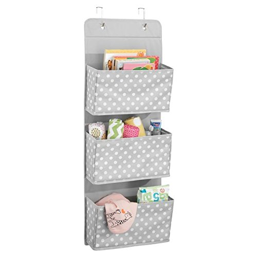 mDesign Soft Fabric Over The Door Hanging Storage Organizer with 3 Large Pockets for Child/Kids Room or Nursery - Fun Polka Dot Pattern, Hooks Included, Light Gray with White Dots by mDesign