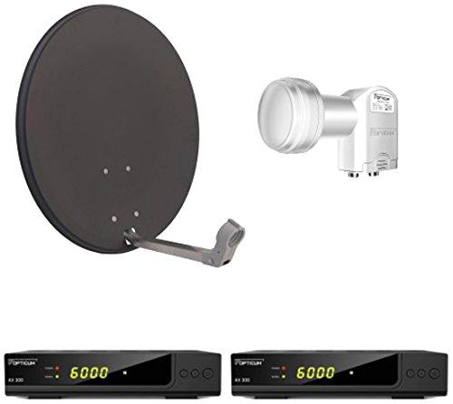 Opticum Digitale 2 Teilnehmer Satelliten-Komplettanlage HD AX 300 HDTV-Receiver (Twin-LNB, X60 cm Antenne) anthrazit