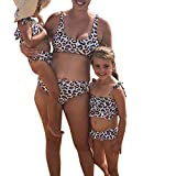 Family Matching Swimsuit 2019 Newest One Piece Leopard Printed Monokini Off Shoulder Bathing Suit