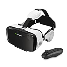 3D VR Headset, ELEGIANT Viewing Glasses + Remote Controller, Virtual Reality Video 3D Movie/Games Box Helmet Google Cardboard Upgraded Suitable for 4.0 ~ 6.0 inches Android and iOS Smart Phones
