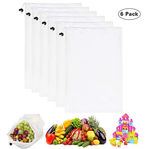 """SAMJANE Reusable Produce Bags,Grocery Mesh Bag Double-Stitched with Lock Bead Great for Fruits and Veggies Set of 6(12""""x17"""")"""