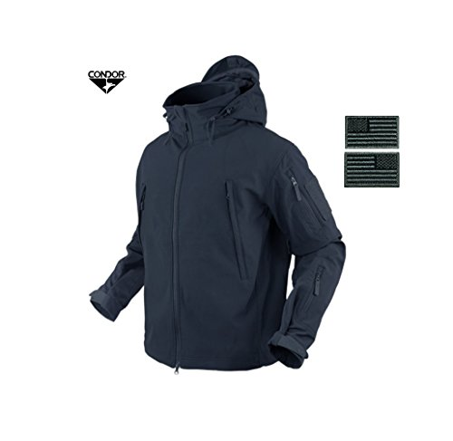 Condor 602 Summit Soft Shell Jacket, Navy + 2 Free Grey/Black Velcro Flag Patches (XXX-Large) Condor Wash