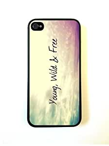 LJF phone case Young Wild And Free Hispter Quote iphone 4/4s Case Fits iphone 4/4s - Designer TP...