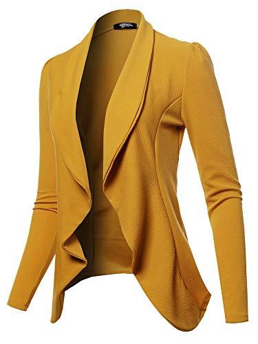 SSOULM Women's Long Sleeve Classic Draped Open Front Lightweight Blazer Mustard 1XL