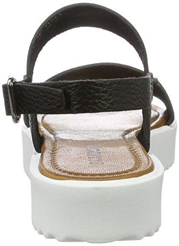 Bianco Flatform Strap Sandal Jfm17 - Sandalias Mujer negro