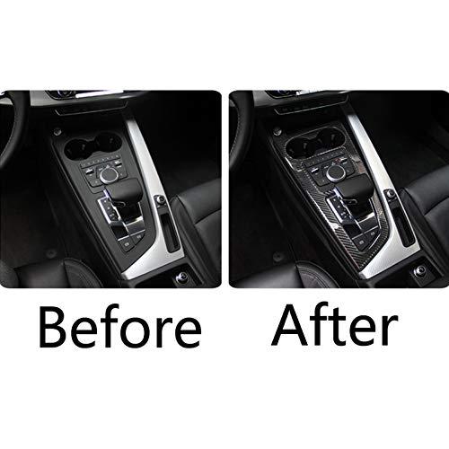 KWWBLX Carbon Fiber For Audi A4 B9 S5 2017 19 Car Accessories Car Control Gear Shift Box Panel Water Cup Holder Frame strip Cover trim