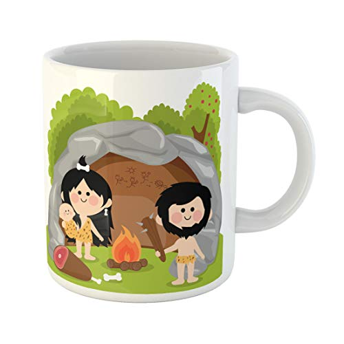 Semtomn Funny Coffee Mug Caveman Cavemen Family in Stone Cave Fire Man Age 11 Oz Ceramic Coffee Mugs Tea Cup Best Gift Or Souvenir]()