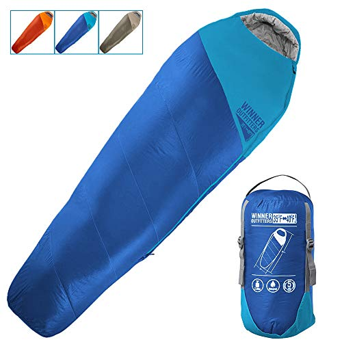 WINNER OUTFITTERS Mummy Sleeping Bag with Compression Sack, It's Portable and Lightweight for 3-4 Season Camping, Hiking, Traveling, Backpacking and Outdoor Activities(Royal Blue