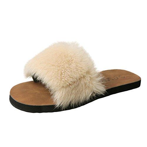 Beautyjourney Sandales A Talon Femmes, Tongs Massantes Femme D'été Femmes Glissent Sur Les Curseurs Moelleux Fausse Fourrure Chaussure Plate Sandale Beige