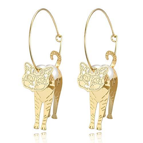 Eiffy Cute Animal Dragon Cat Circle Hoop Earring Fashion Gold Big Round Imitation Pearl Drop Earrings for Women Jewelry
