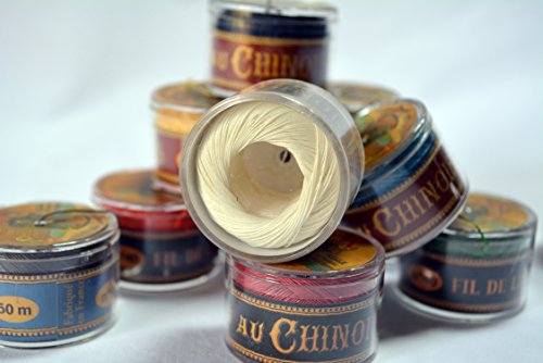 (Fil Au Chinois Waxed Linen Single Ply Sewing Thread in 50m Capsules - CHOOSE your COLOR - MADE IN FRANCE (No. 308 Ecru))