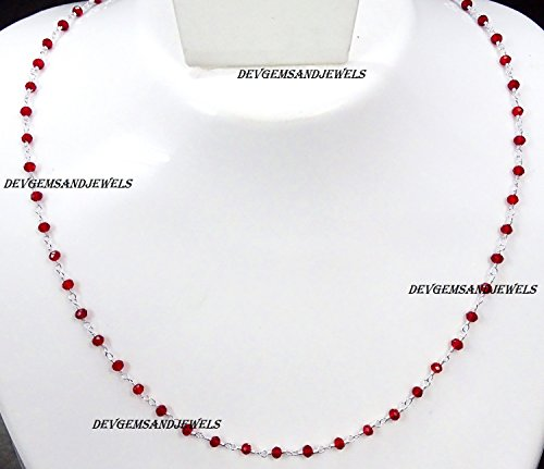 (Red Garnet Hydro Choker Necklace Faceted Rondelle 3 - 3.50 mm Beads 925 Silver Plated Wire Wrapped Rosary Vermeil Chain. (16 Inch Collar Length))
