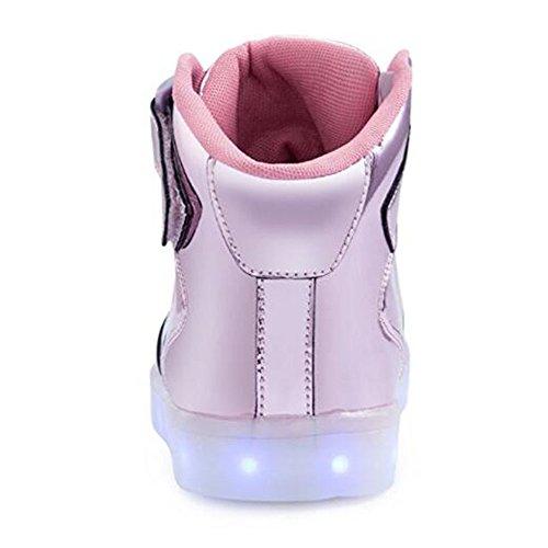 KUshopfast Kinder leuchten Schuhe Jungen und Mädchen High Top LED Energy Lights Turnschuhe (perfektes Geschenk für Kinder und Jugendliche) Rosa3