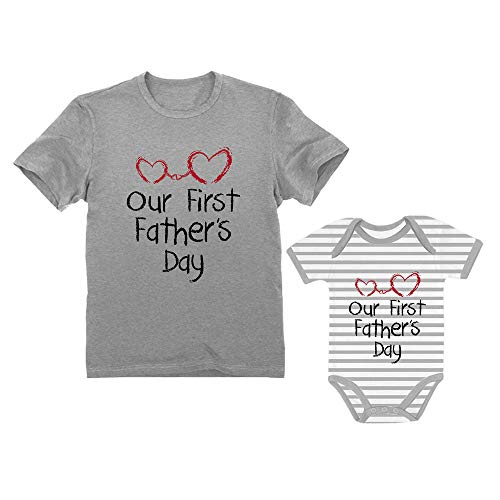 Our First Father's Day Dad & Baby Matching Set Infant Bodysuit & Men's T-Shirt Dad Gray Large/Baby Gray/White NB (0-3M) ()